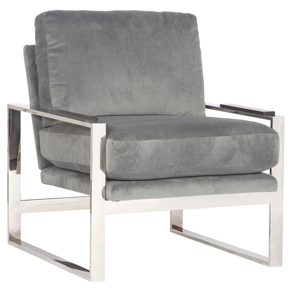 Michael Weiss Soho Modern Grey Velvet Stainless Steel Armchair