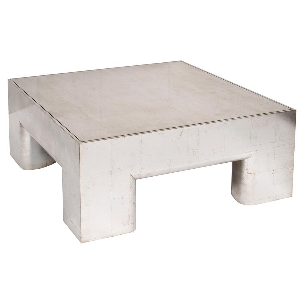 Hamil Modern Silver Leaf Walnut Block Coffee Table Kathy Kuo Home