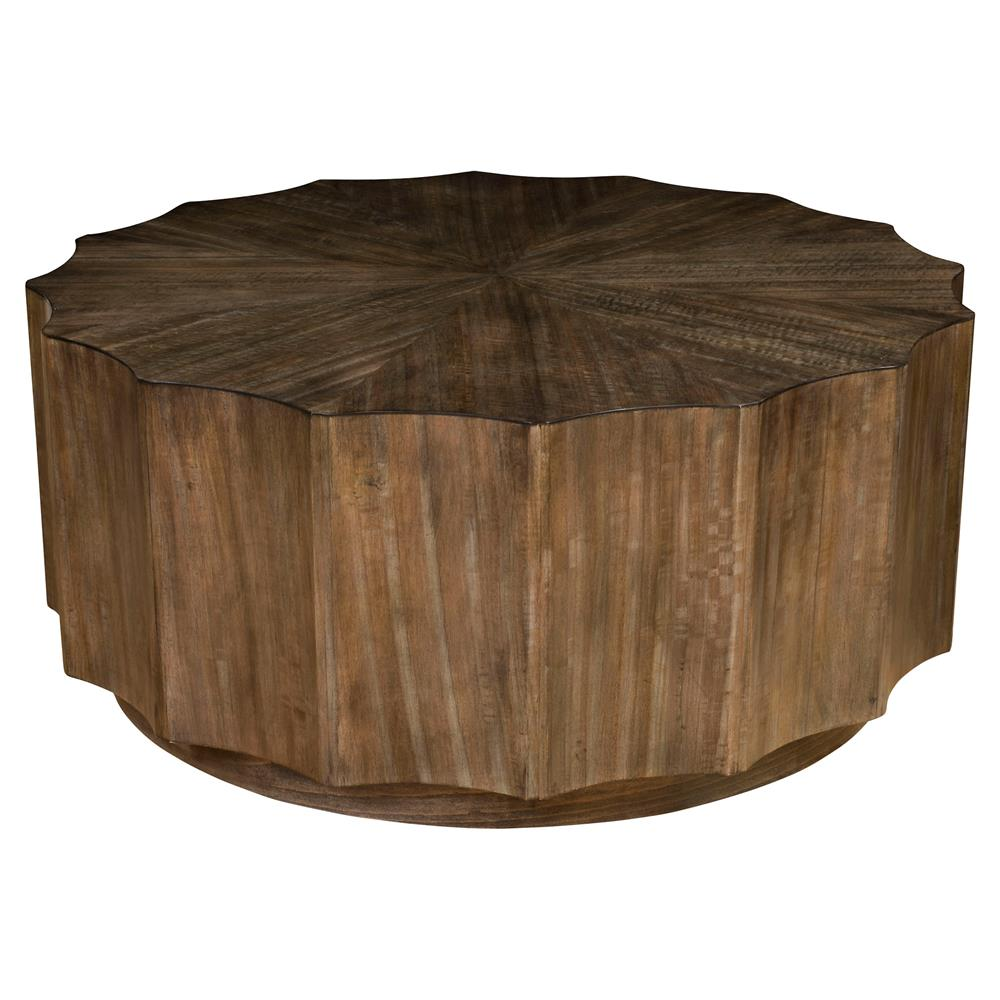 cyprus rustic lodge round scalloped wood coffee table kathy kuo home. Black Bedroom Furniture Sets. Home Design Ideas