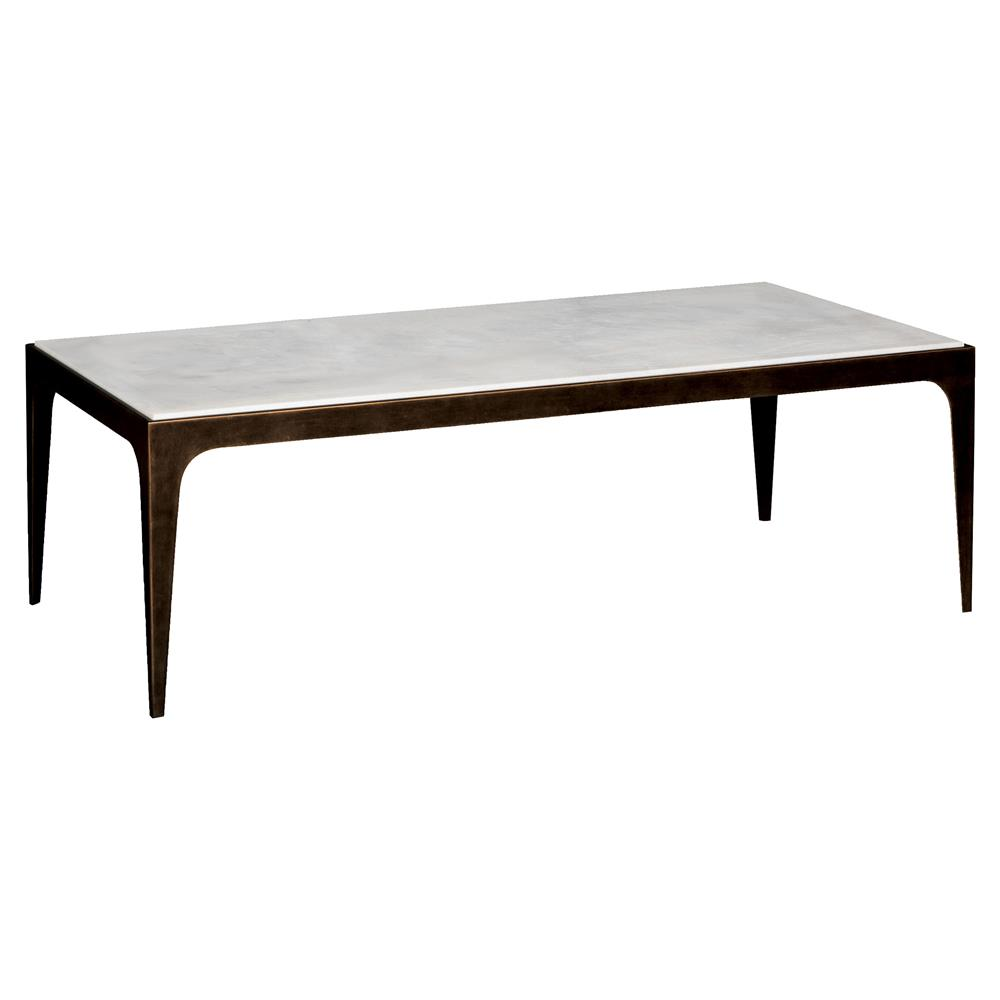 Cather Regency Loft French Brass White Marble Coffee Table | Kathy Kuo Home