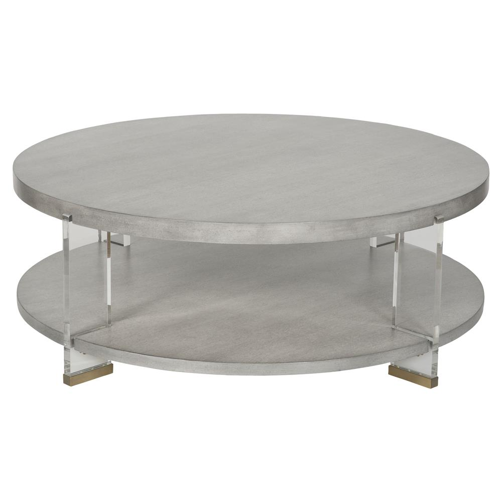 vanguard dell modern brass acrylic dove grey round coffee table. Black Bedroom Furniture Sets. Home Design Ideas
