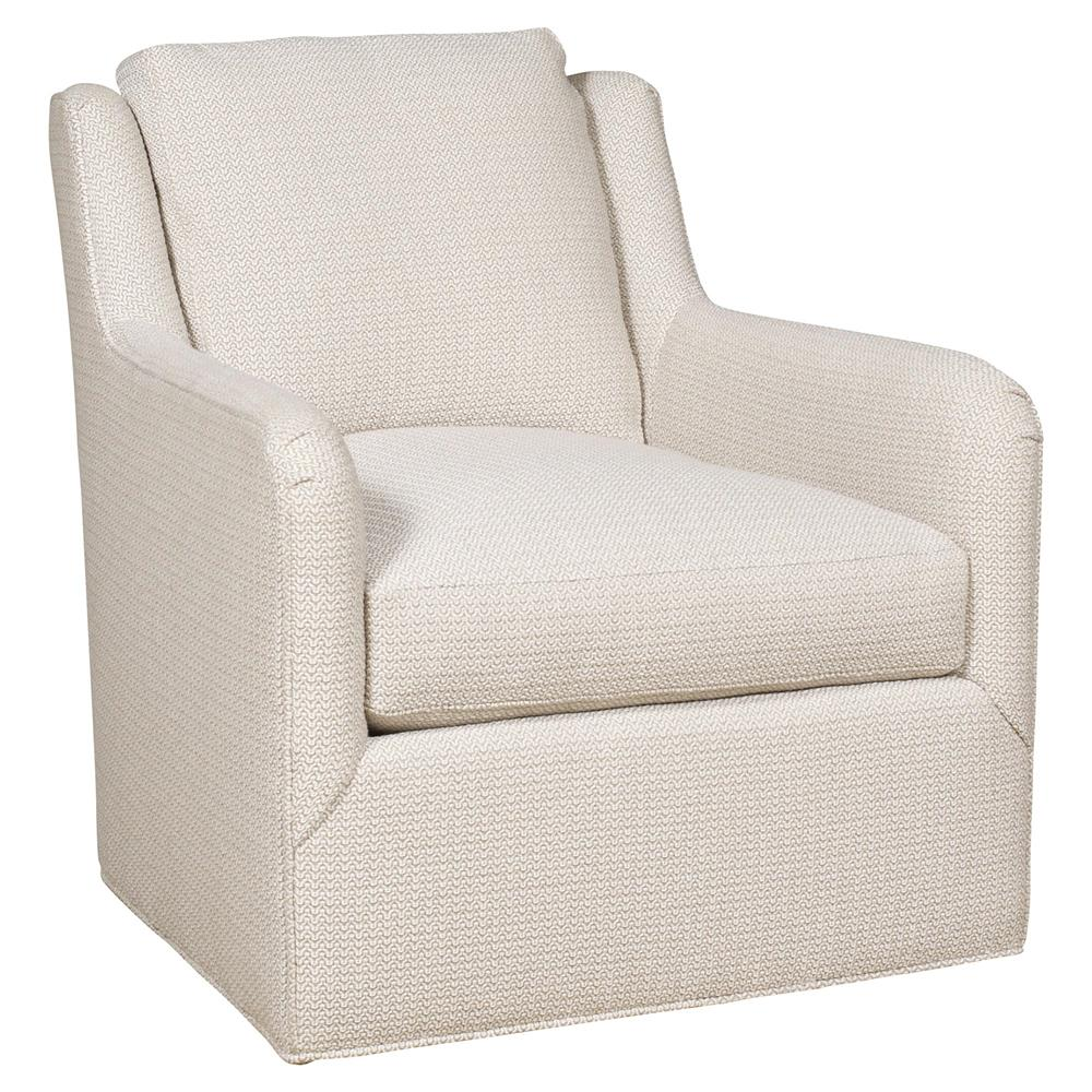 Vanguard Fisher Modern Ivory Bone Rounded Pattern Swivel Chair