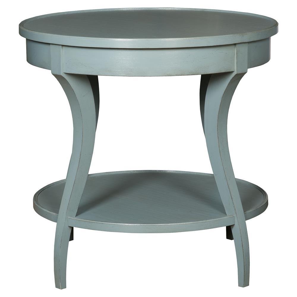 Vanguard Ella Coastal Rustic Teal Blue Round Wood End Table - Blue round end table