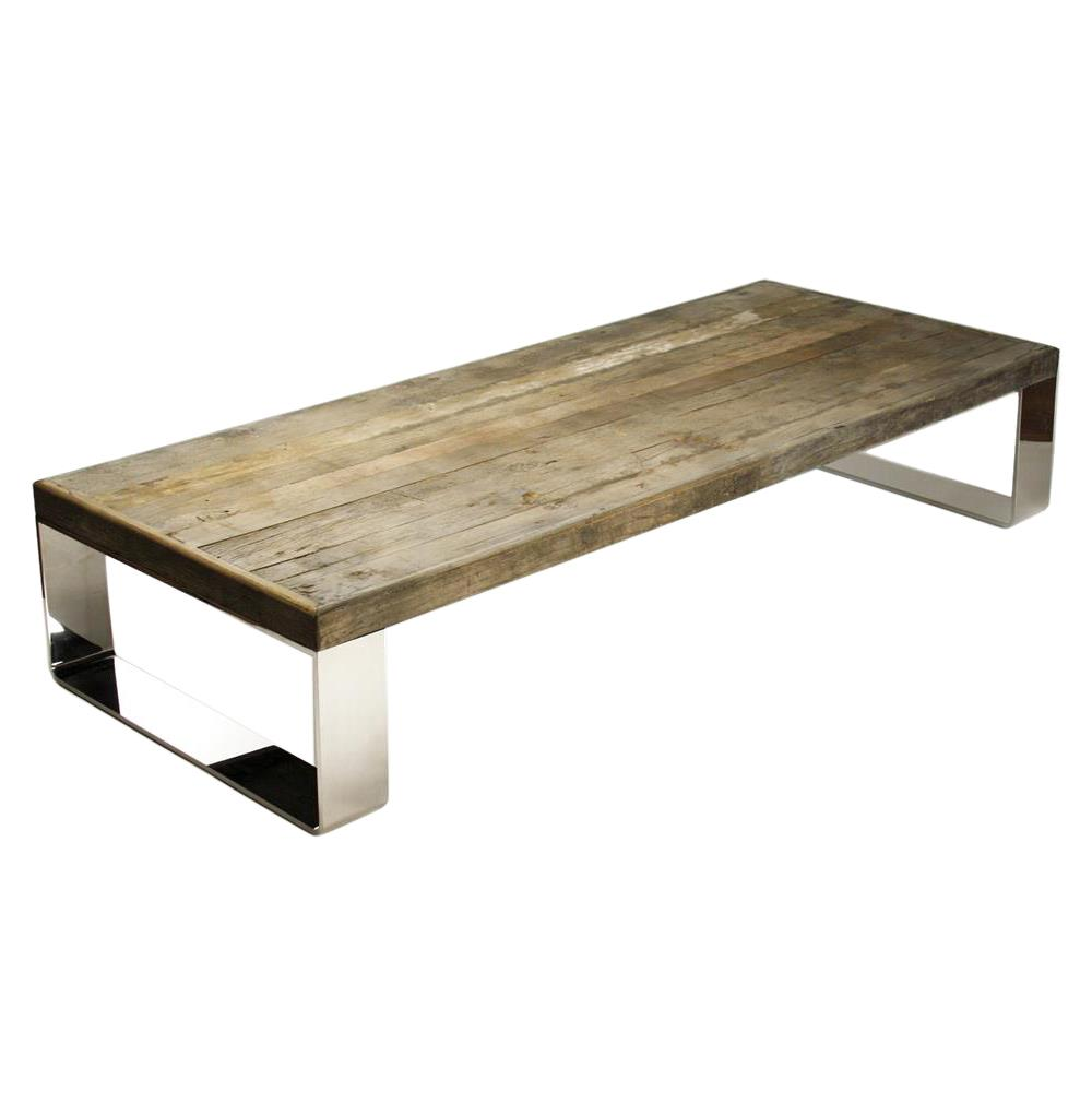 Darren contemporary reclaimed wood steel coffee table kathy kuo home Recycled wood coffee table