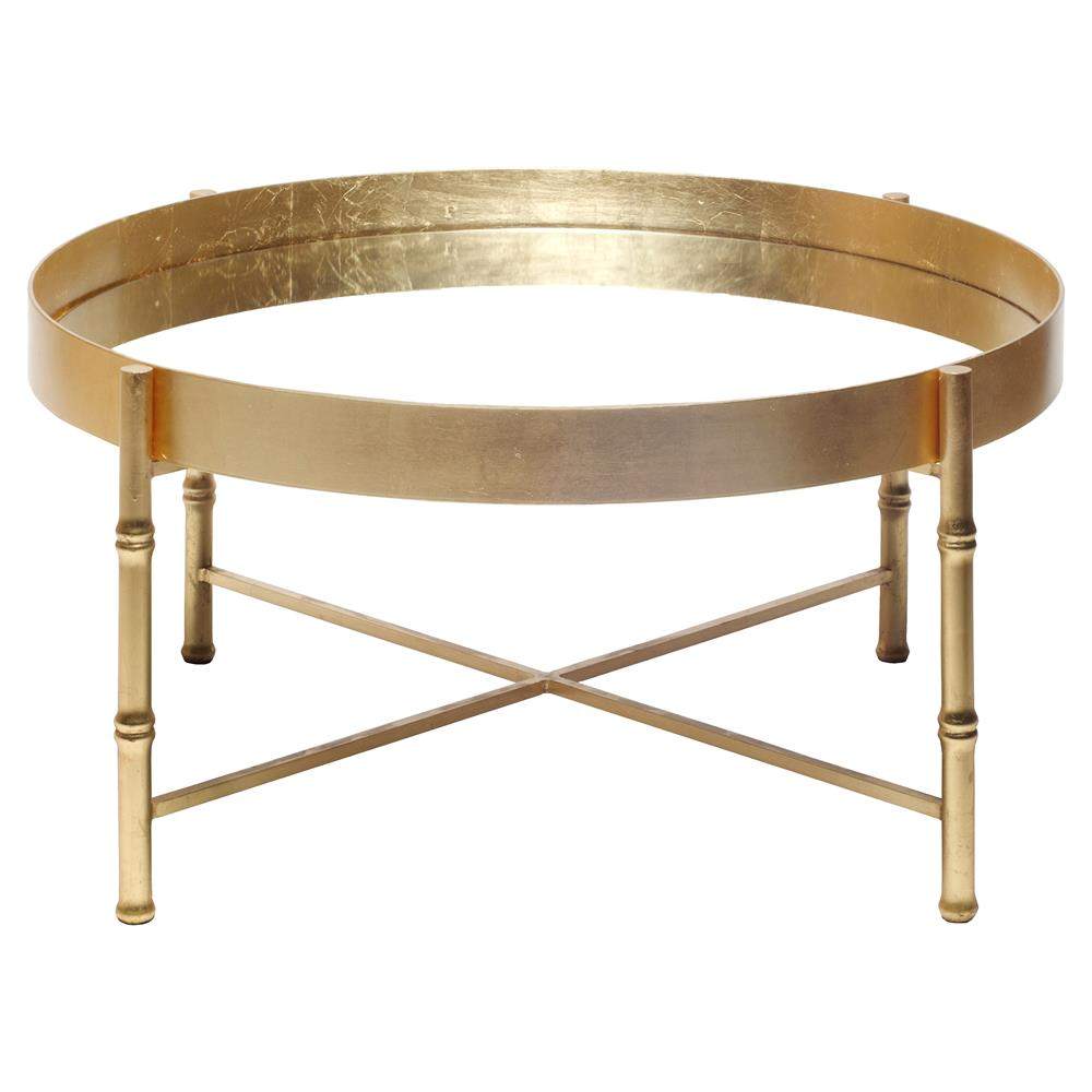 Bamboo Gold Table: Arceli Bazaar Gold Bamboo Mirror Coffee Table