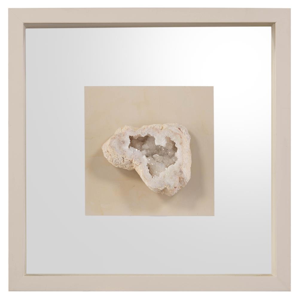 John Richard White Crystal Geode Slice Ivory Mirror Shadow Box Ii Kathy Kuo