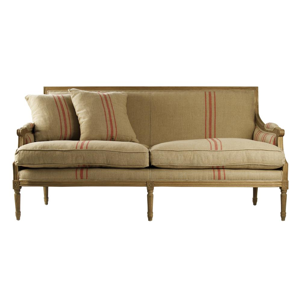 Beau St. Germain French Style Red Stripe Linen Louis XVI Sofa | Kathy Kuo Home