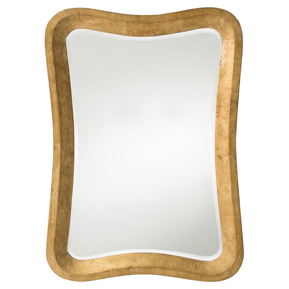 Zoran regency curved gold leaf rectangular mirror kathy for Rectangle mirror