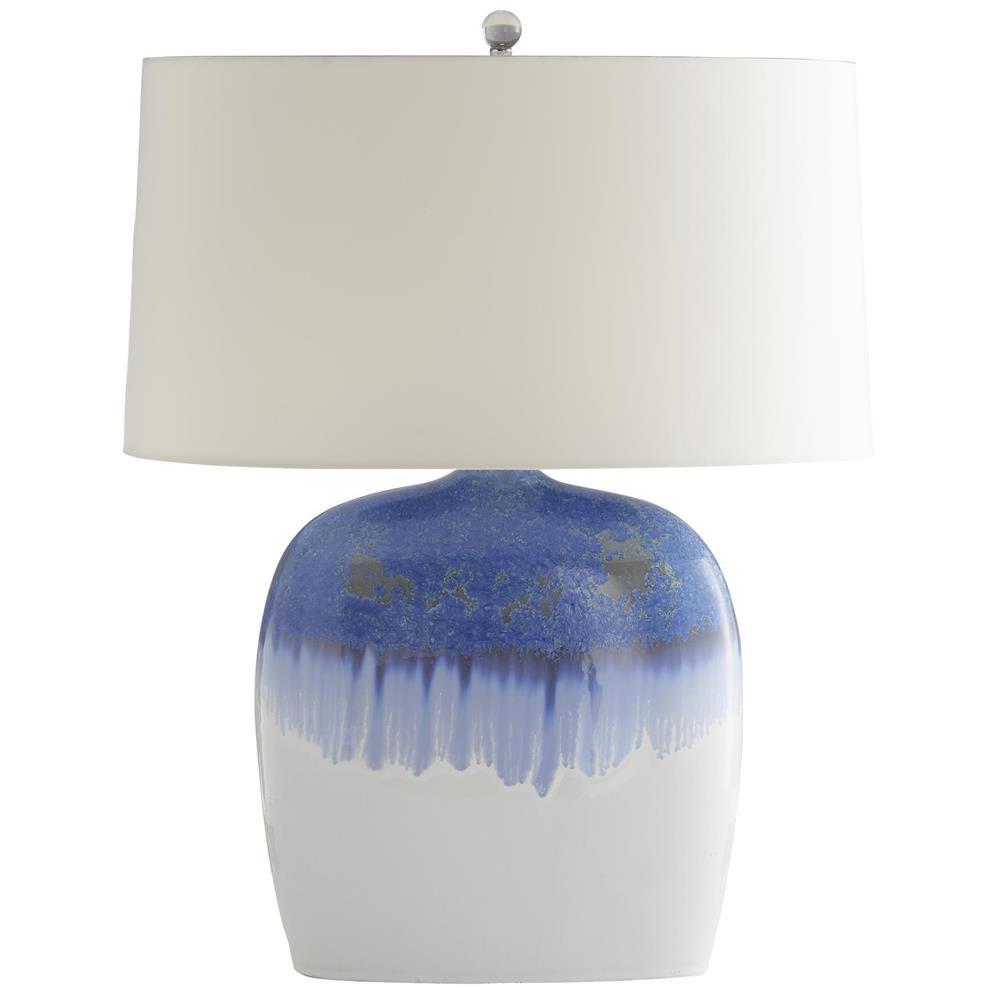 Arteriors Darwin Coastal Artisan Blue Grey Drip Glaze Ceramic Lamp