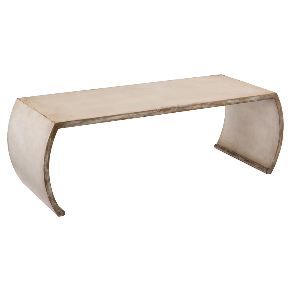 Chay Global Bazaar Rustic Linen Curved Coffee Table Kathy Kuo Home