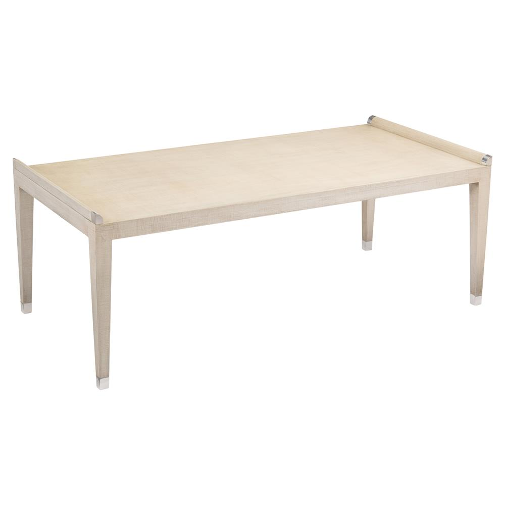 Remus Modern Rustic Linen Deco Nickel Coffee Table Kathy Kuo Home