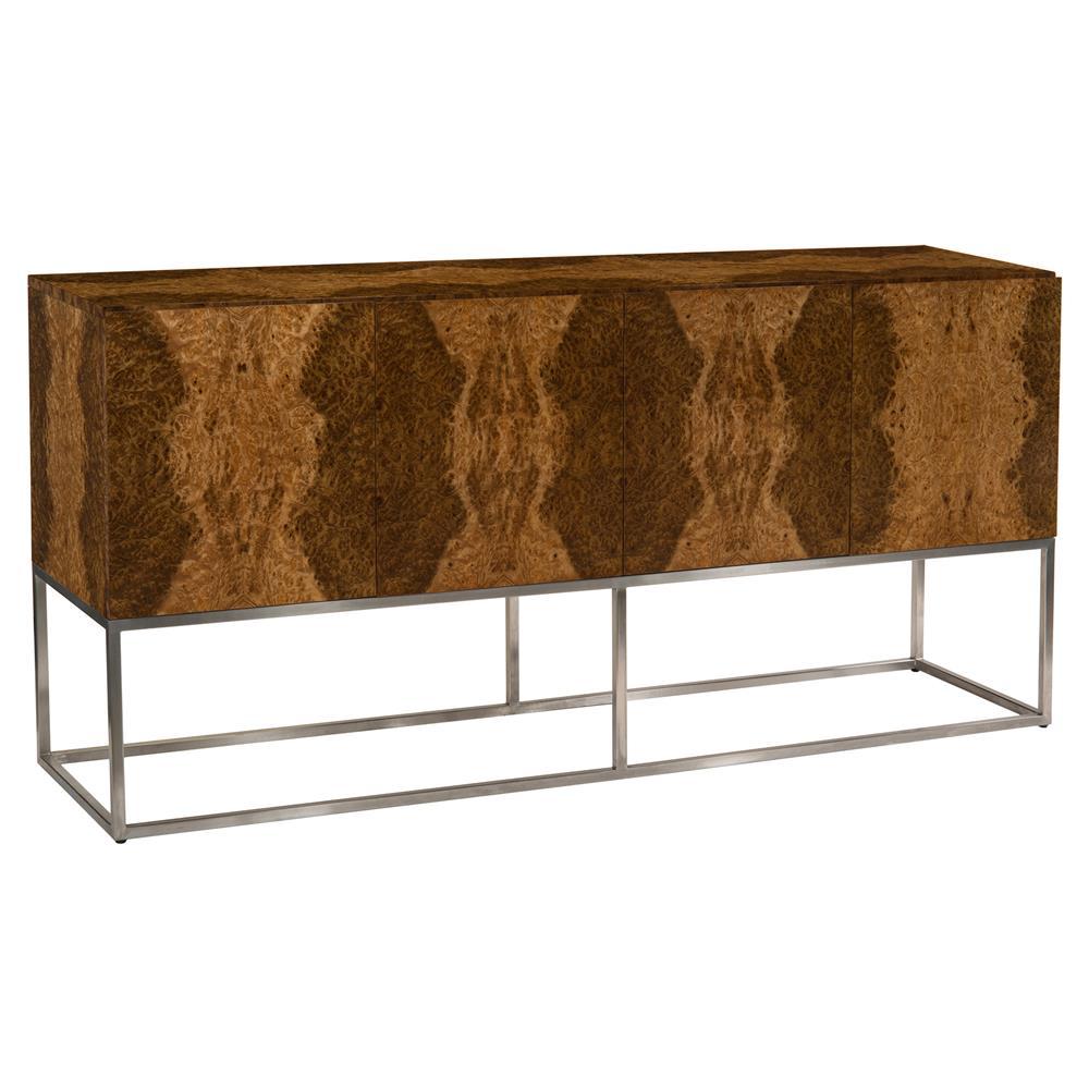 madrona modern veneer steel box sideboard kathy kuo home. Black Bedroom Furniture Sets. Home Design Ideas
