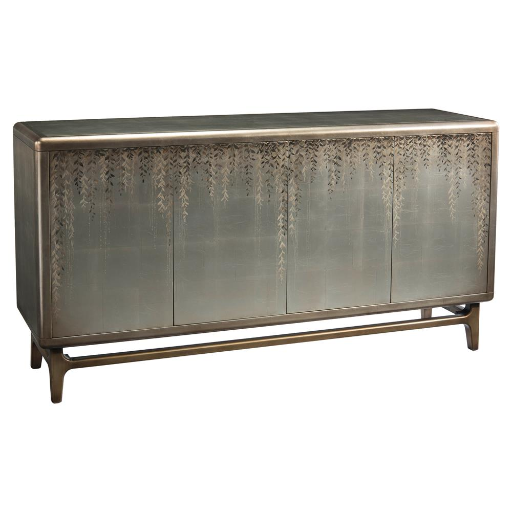 Vines regency hand painted silver leaf sideboard kathy for Painted buffet sideboard