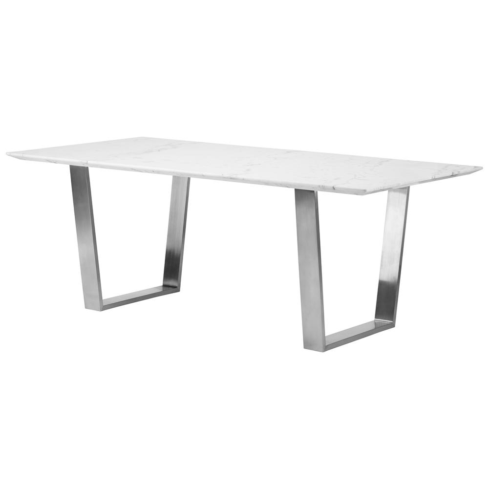 Corra modern white marble brushed steel dining table kathy kuo home