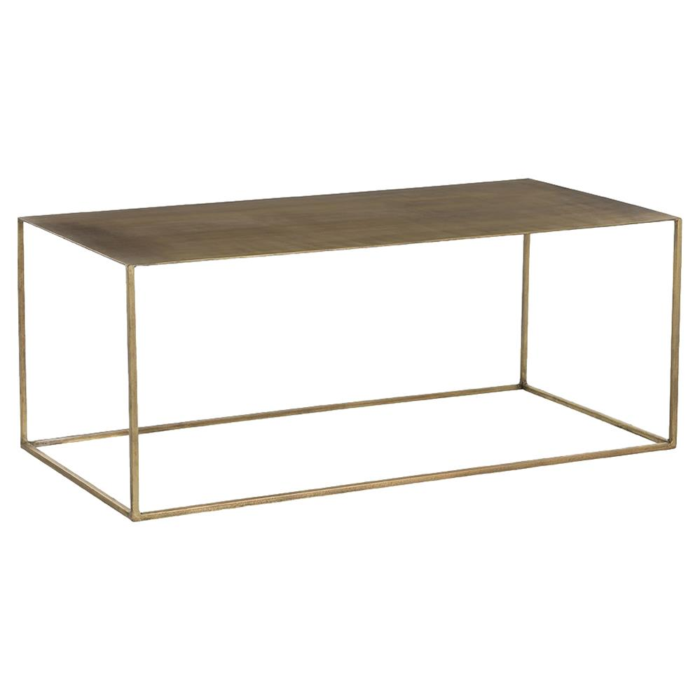 Tobin industrial loft minimal antique brass coffee table kathy kuo home Antique brass coffee table