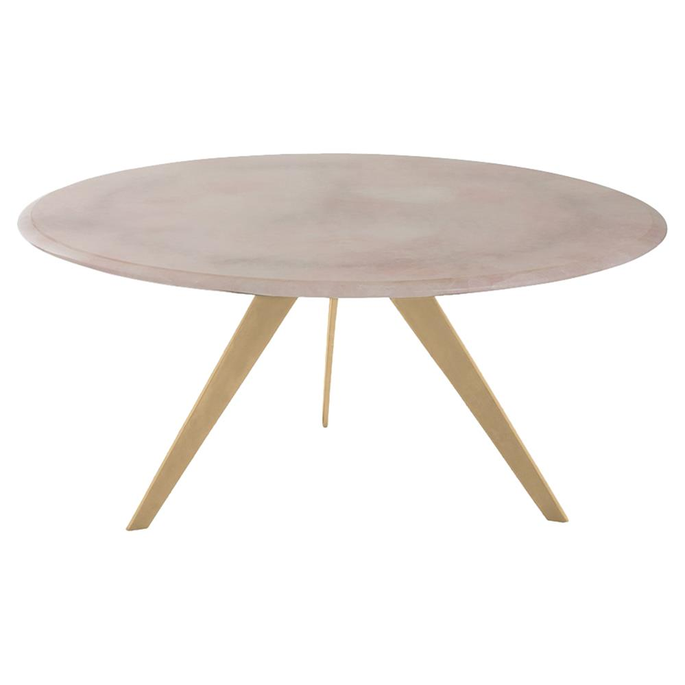 gertie modern rose quartz gold leaf coffee table | kathy kuo home