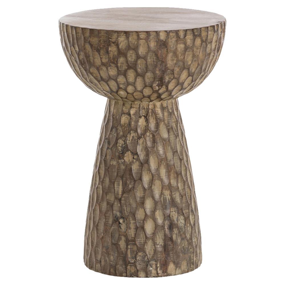 Jaina Global Notched Mango Wood Stool End Table Kathy