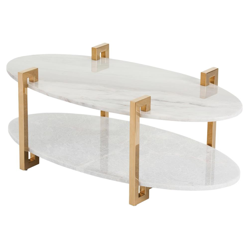 - Deon Regency Gold Greek Key Marble Oval Coffee Table Kathy Kuo Home