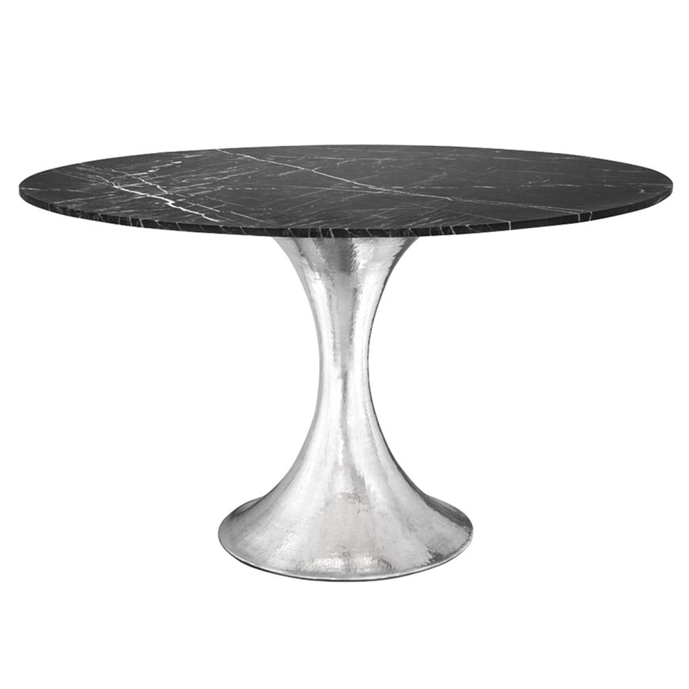 Quinton silver tulip black marble round dining table for Tulip dining table