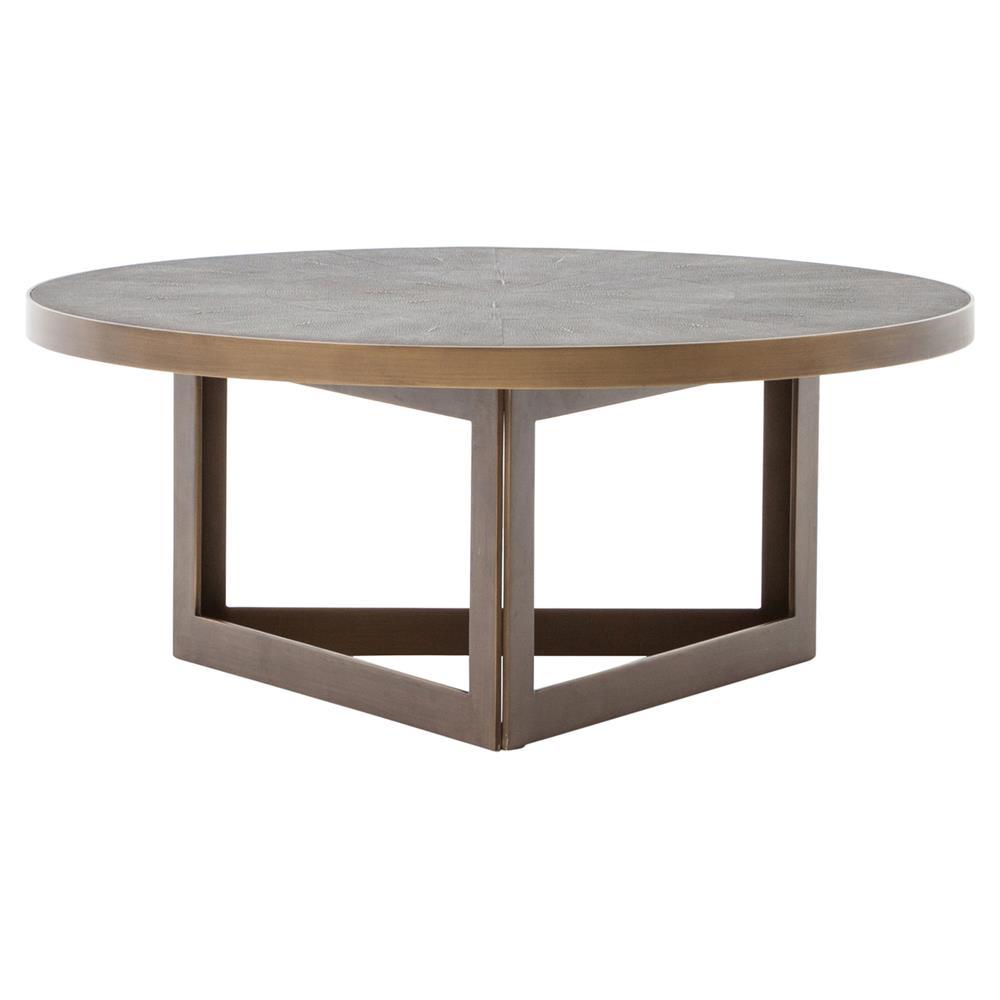 Larana regency faux shagreen round brass coffee table kathy kuo home