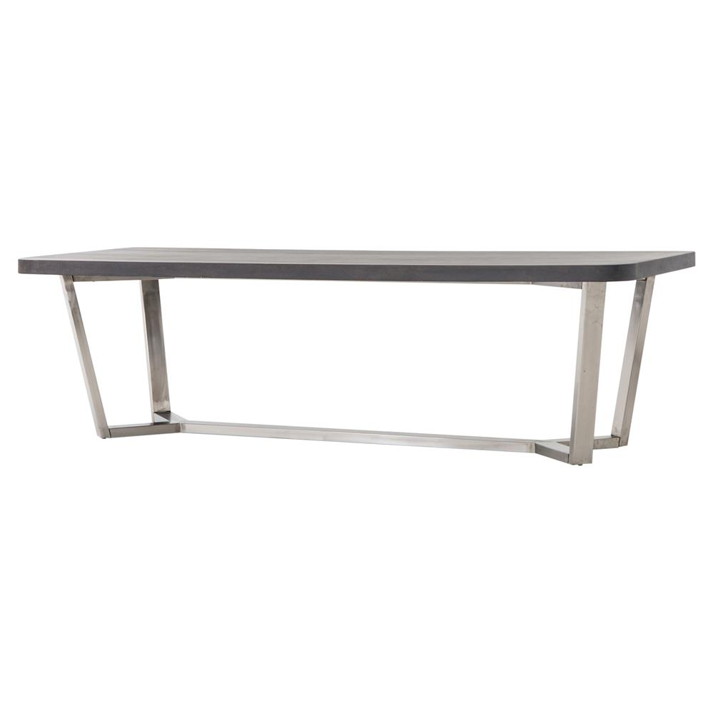 Loris industrial lavastone stainless steel outdoor dining for Stainless steel dining table
