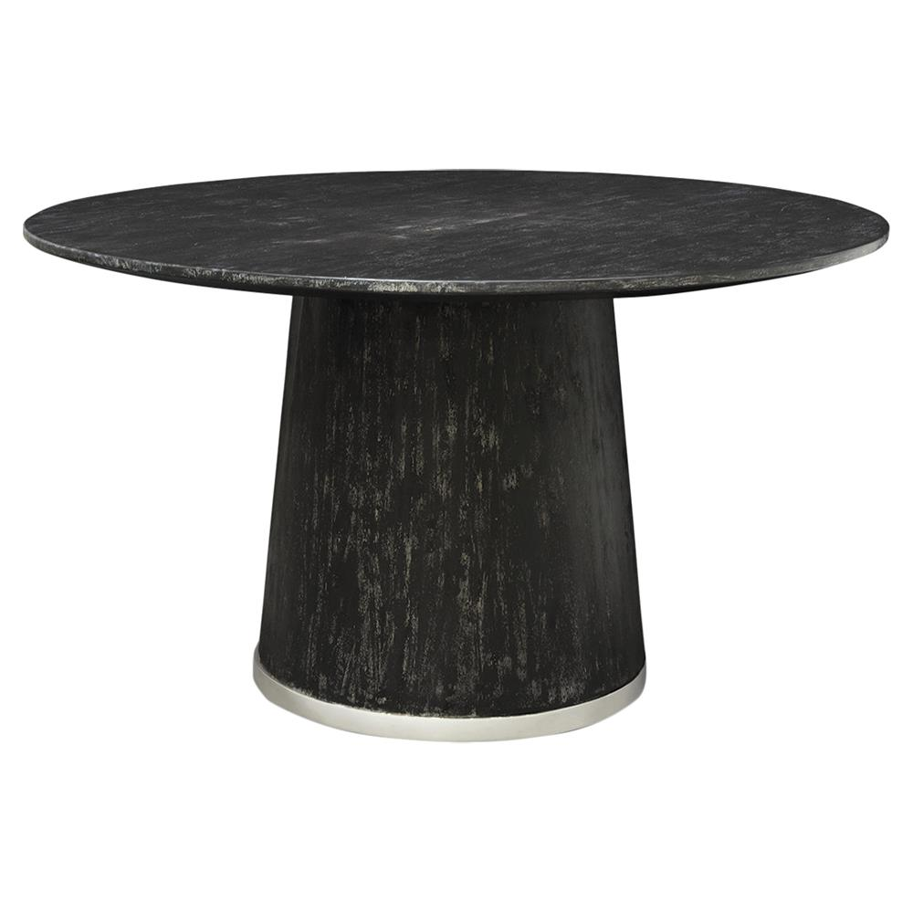 Hannie Loft Silver Trim Black Round Dining Table Kathy