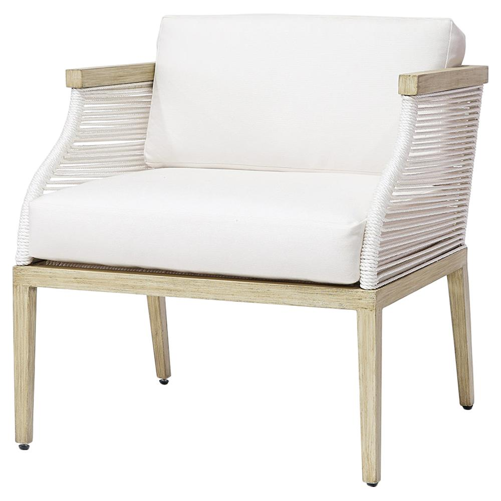 Palecek Sausalito Modern Marine Rope White Outdoor Lounge Chair Kathy Kuo Home