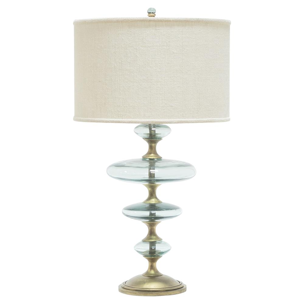 Granger global recycled glass disc gold table lamp kathy kuo home geotapseo Gallery