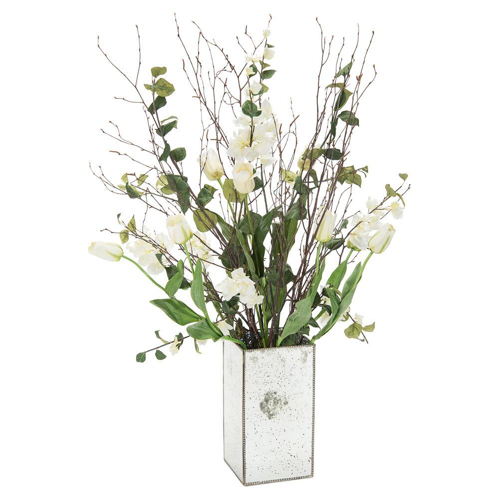 John Richard Tall White Tulip Natural Branch Mirrored Vase Arrangement