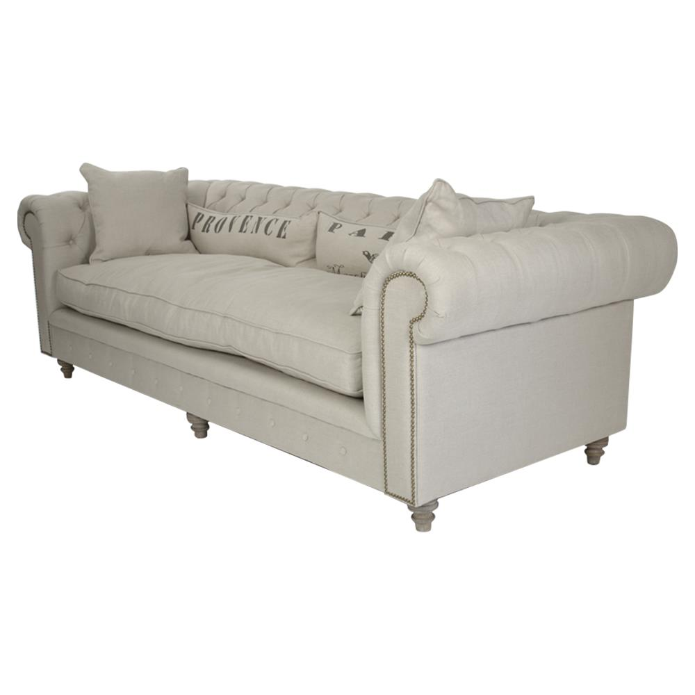 Alaine french country 39 provence 39 chesterfield nail head sofa ebay - French country sectional sofas ...