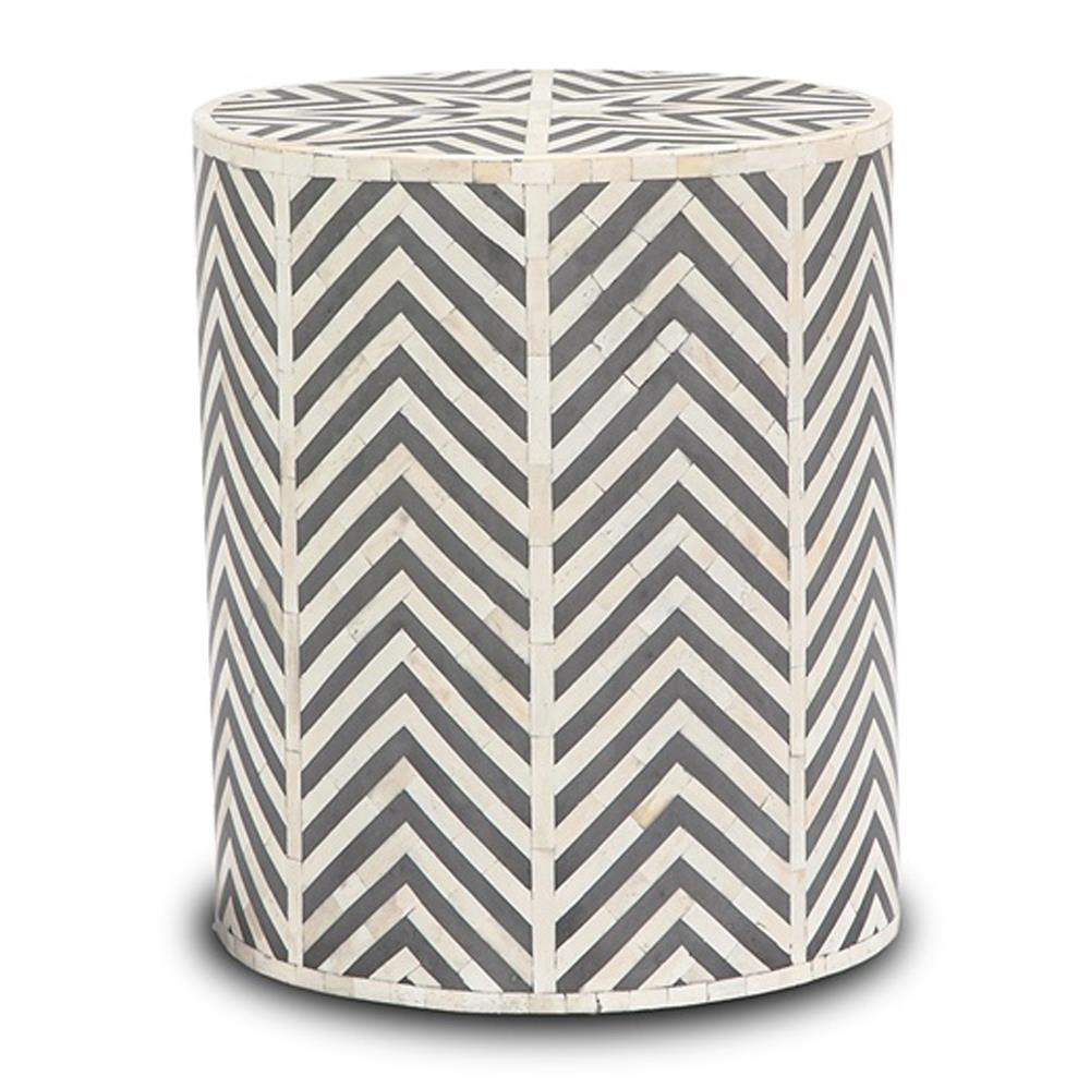 White And Gray Bone Inlay Accent Table: Interlude Kiara Bazaar Bone Inlay Geometric Grey End Table