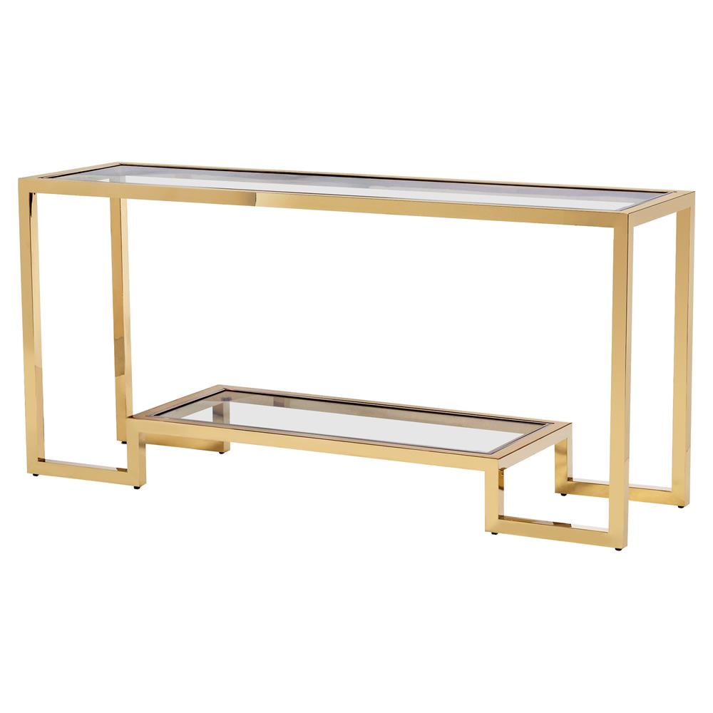 Interlude vienna hollywood angular polished brass glass console table kathy kuo home
