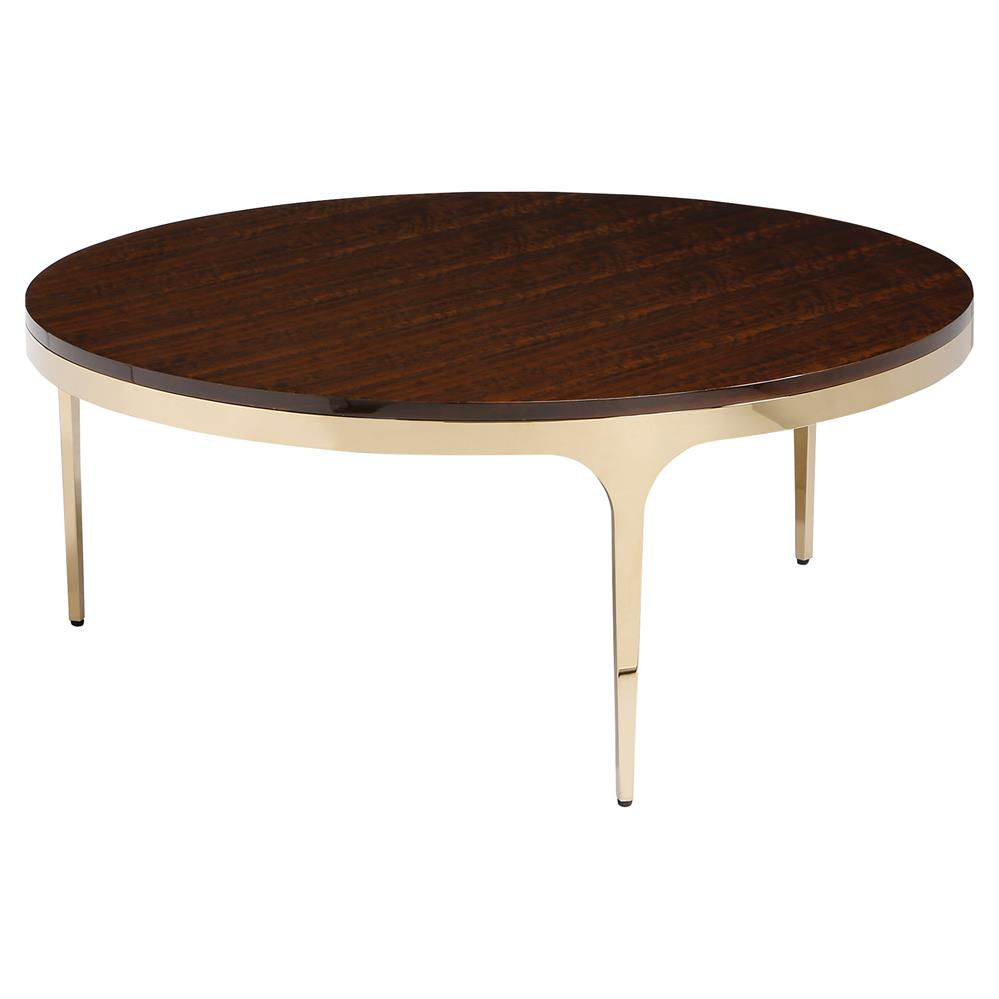 Modern Wood Coffee Table: Interlude Camilla Brass Modern Eucalyptus Wood Round