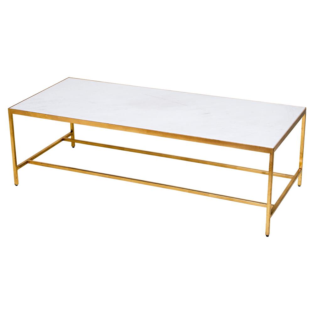 Austie Regency Gold Leaf Marble Rectangular Coffee Table Kathy Kuo