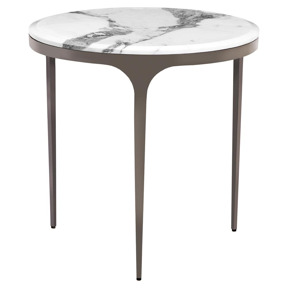 eda gunmetal white marble round end table kathy kuo home. Black Bedroom Furniture Sets. Home Design Ideas