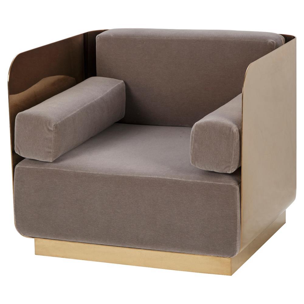 Kelly Hoppen Vinci Regency Modern Brown Rose Gold Metal Chair