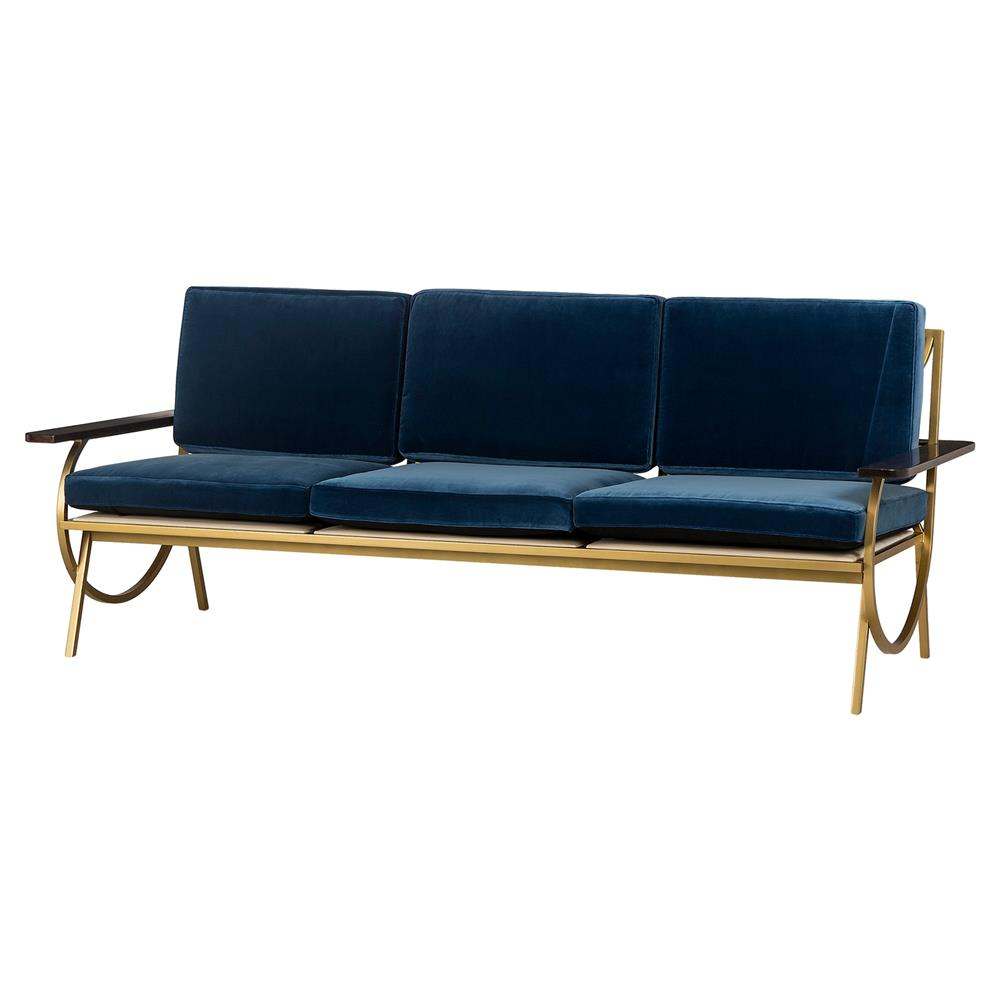 Resource Decor B Mid Century Curved Gold Blue Velvet Sofa | Kathy Kuo Home