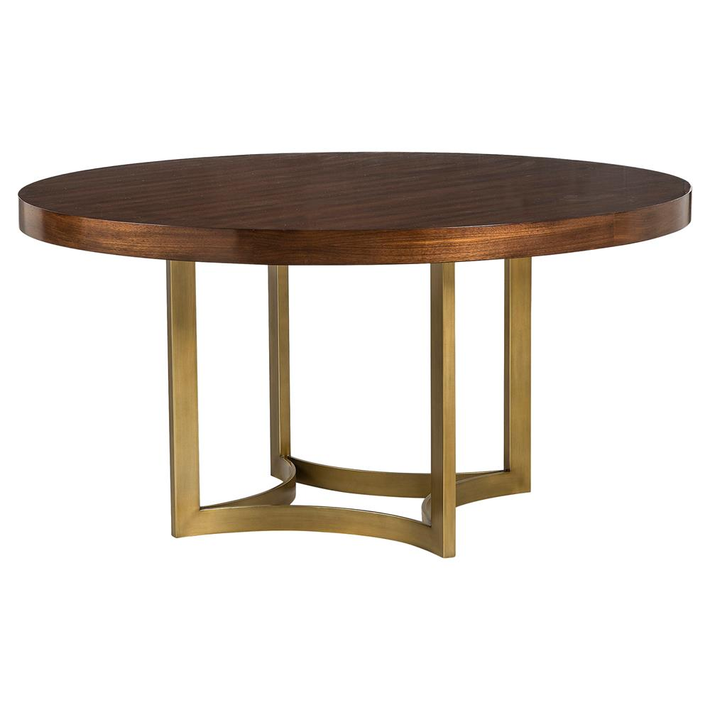 Resource decor ashton modern brushed gold round wood for Wood dining table decor