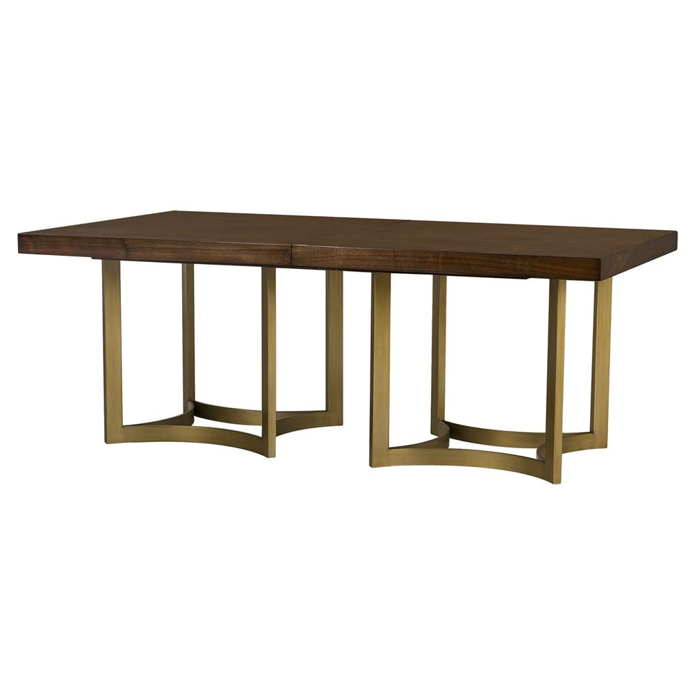 resource decor ashton modern brushed gold walnut dining table. Black Bedroom Furniture Sets. Home Design Ideas
