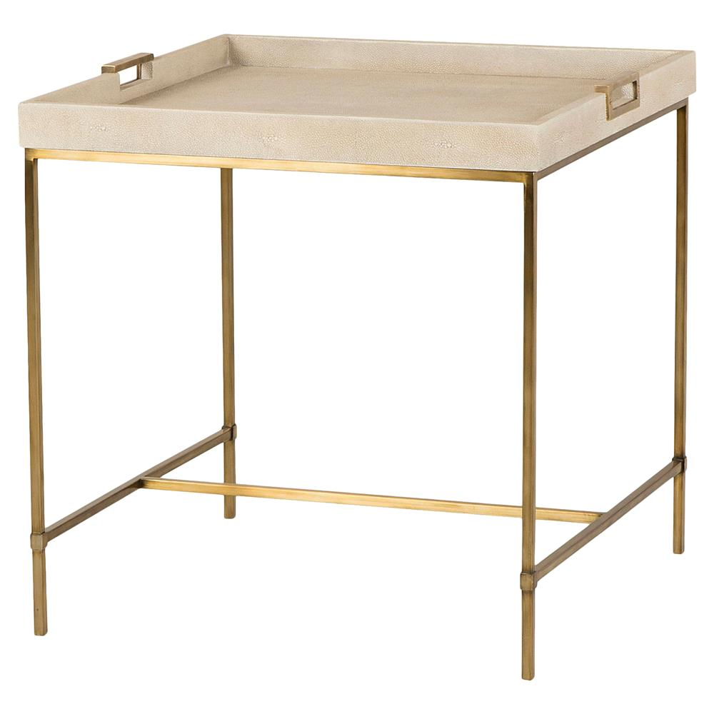 Shagreen Coffee Table Tray: Maison 55 Lexi Hollywood Brass Ivory Shagreen Tray End Table