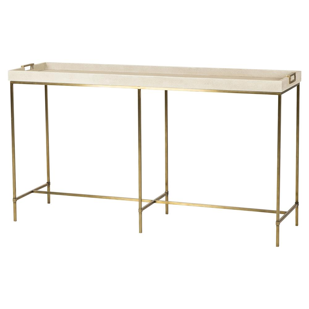 Maison 55 Lexi Hollywood Brass Ivory Shagreen Tray Console Table | Kathy  Kuo Home ...