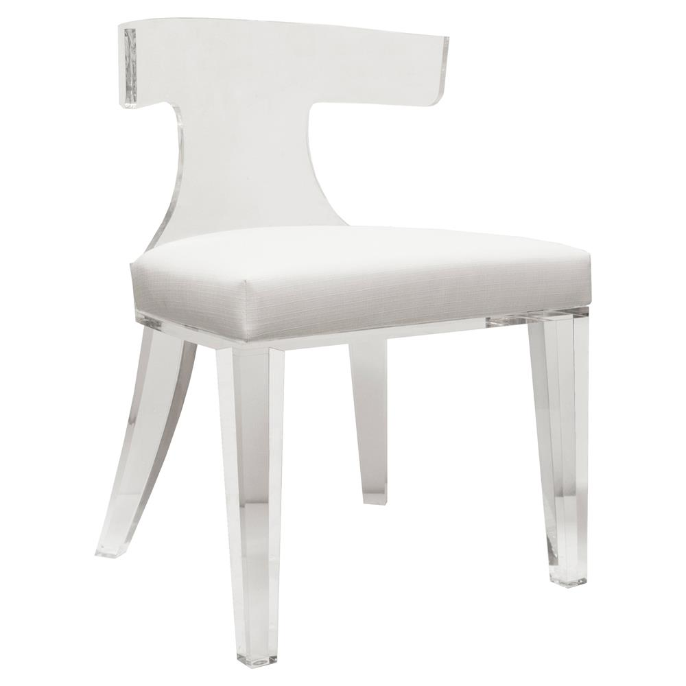 Modern Klismos Chair: Crius Modern Acrylic White Linen Klismos Chair