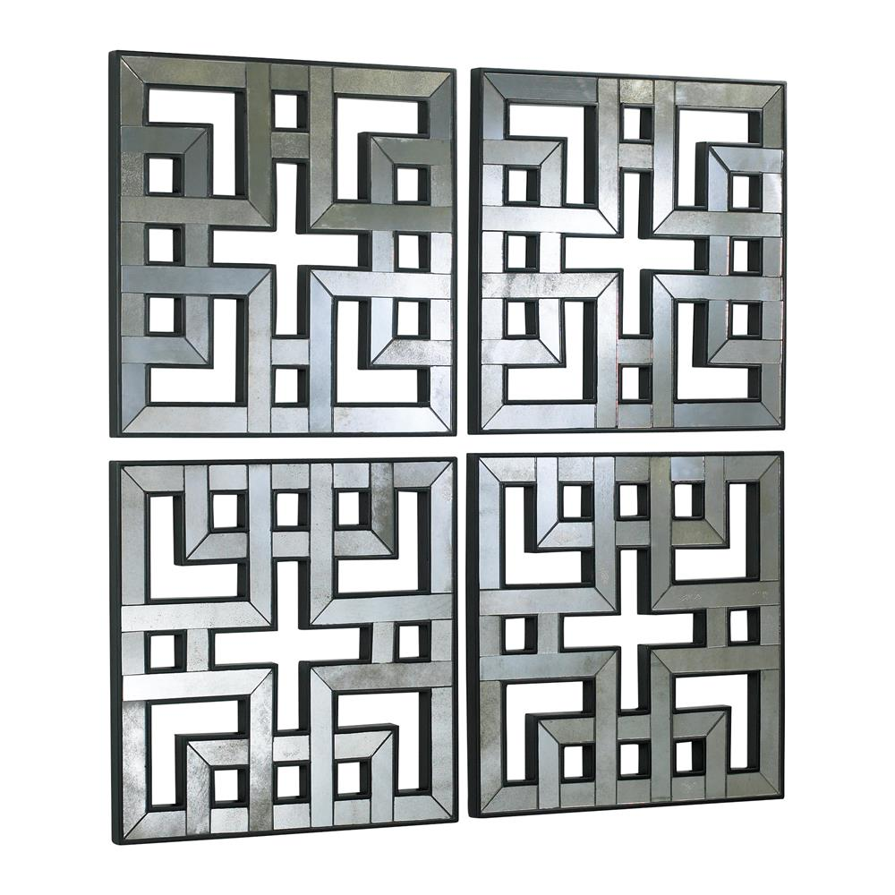 Mirrored Wall Panels set of 4 akari contemporary lattice mirrored wall panels | kathy