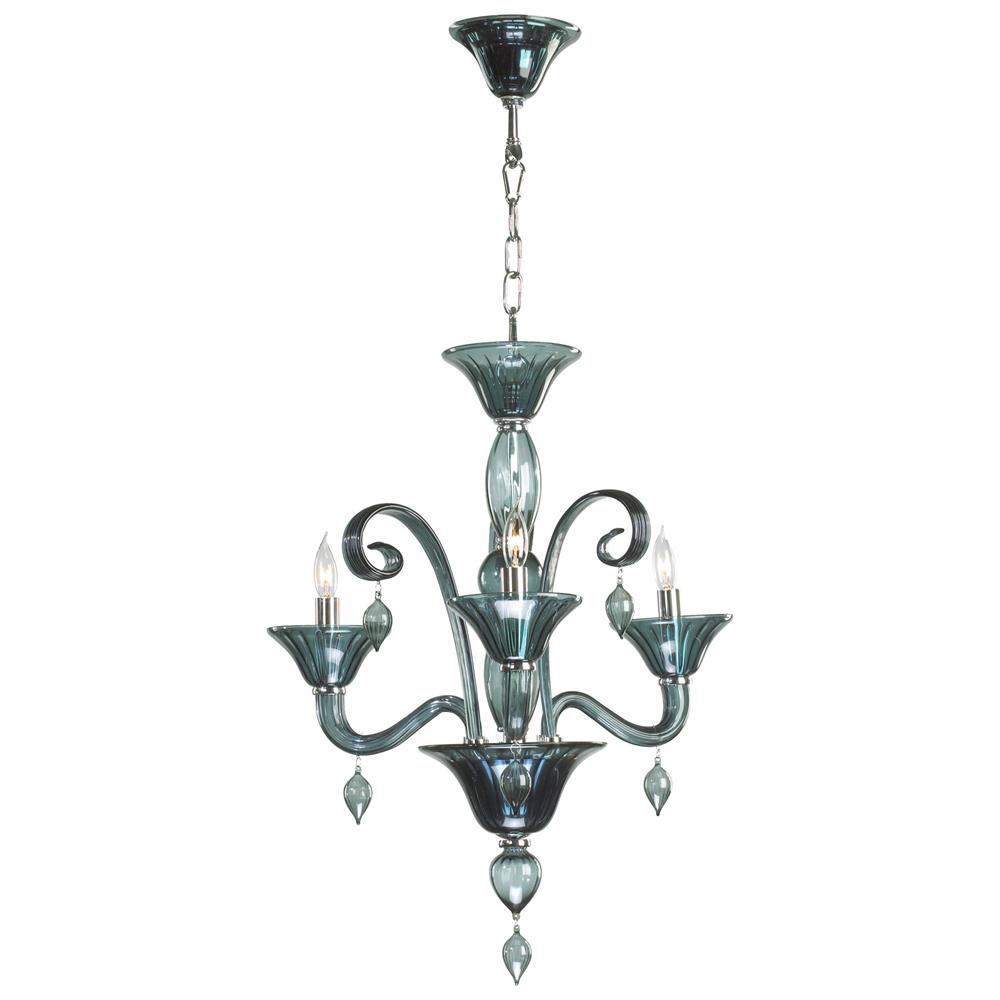 Light Dark Blue Smoke Murano Glass Style Chandelier Kathy Kuo Home