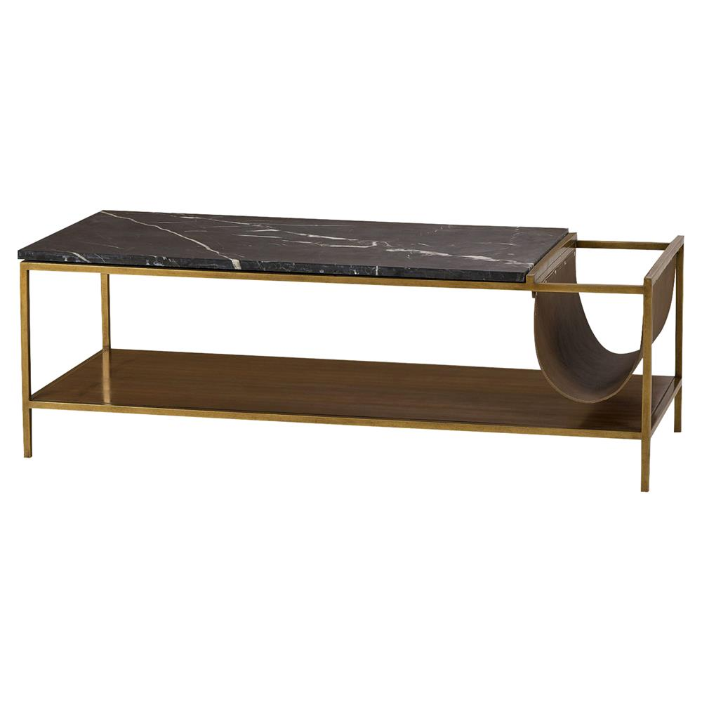 Maison 55 Copeland Mid Century Leather Black Marble Walnut Coffee Table |  Kathy Kuo Home ...