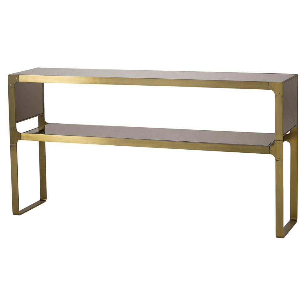 brass console table. Resource Decor Evans Regency Satin Brass Bronze Mirror Console Table | Kathy Kuo Home A