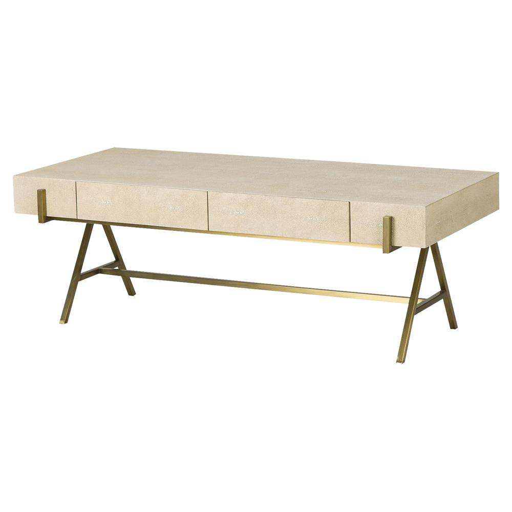 fisk regency brass ivory shagreen coffee table | kathy kuo home