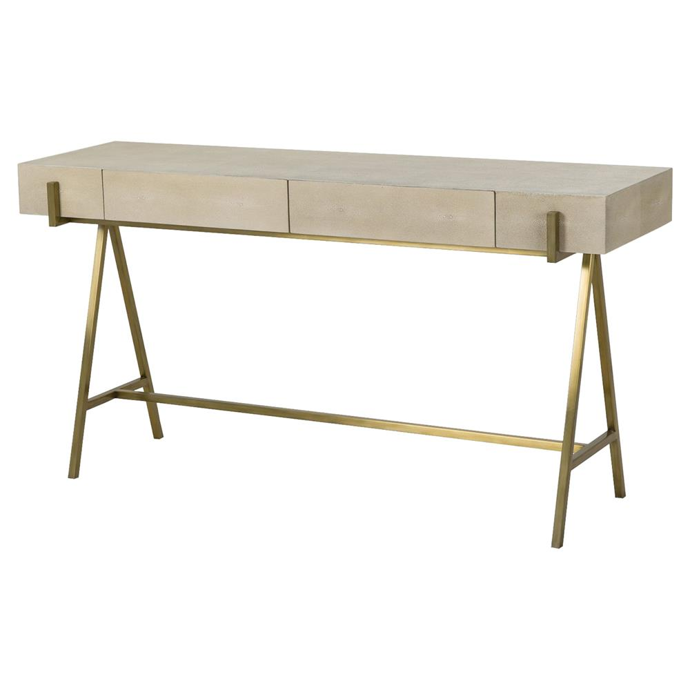 Resource Decor Delilah Regency Brass Ivory Shagreen Console Table | Kathy  Kuo Home ...