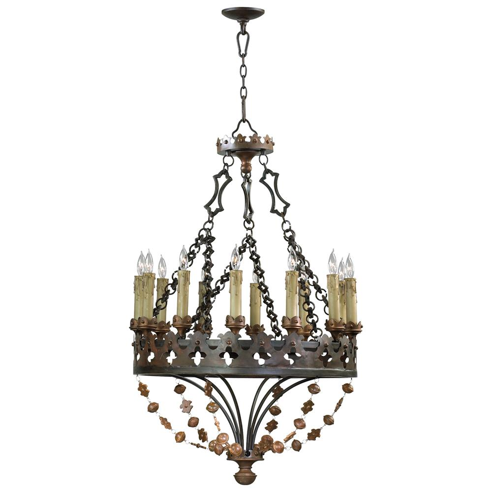 Madrid Spanish Revival Wrought Iron 12 Light Chandelier