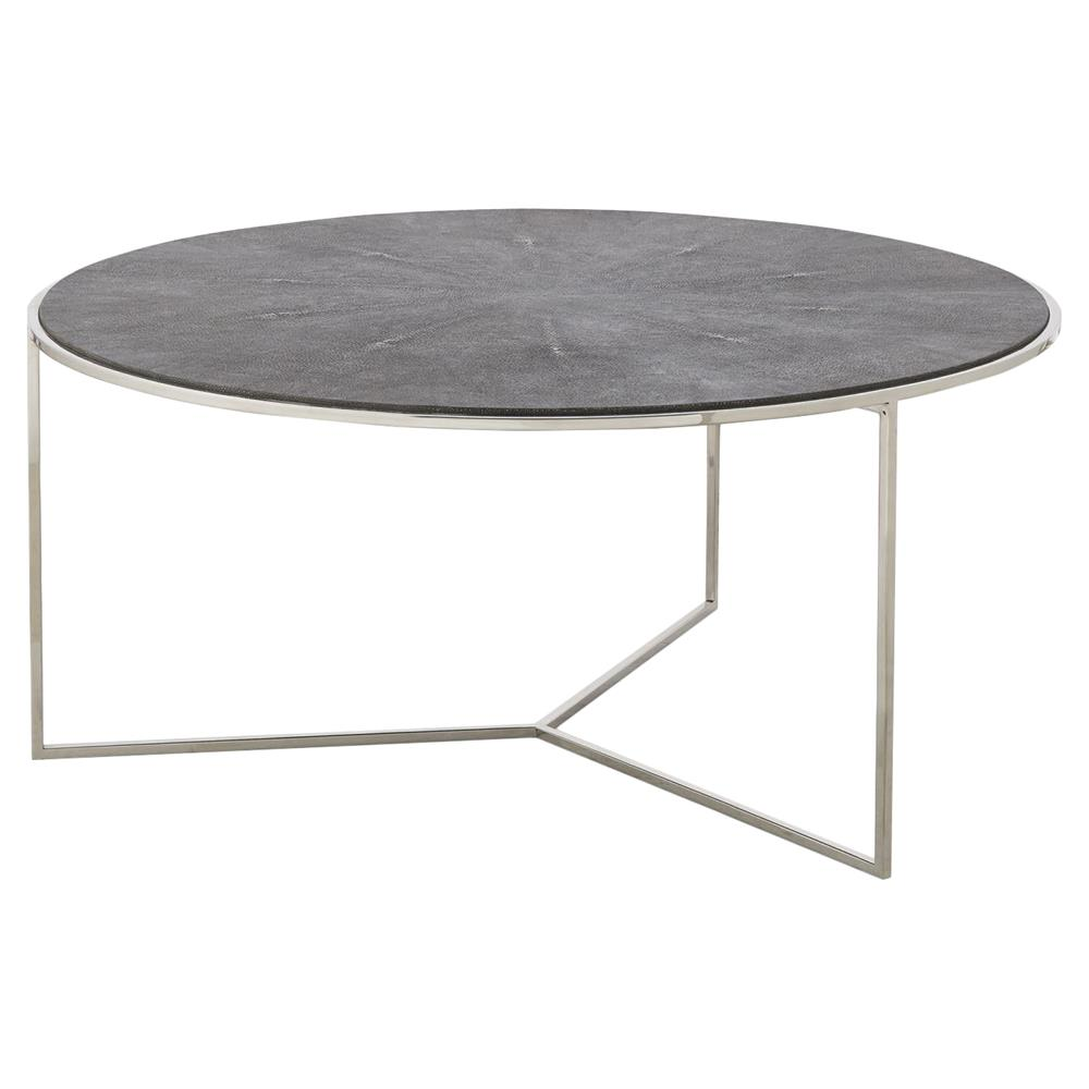 farlane regency grey shagreen round nickel coffee table kathy kuo home. Black Bedroom Furniture Sets. Home Design Ideas